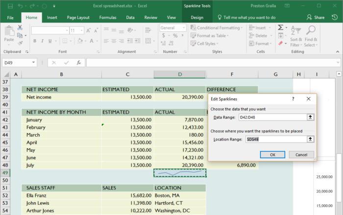 Microsoft Excel - Sparkline chart