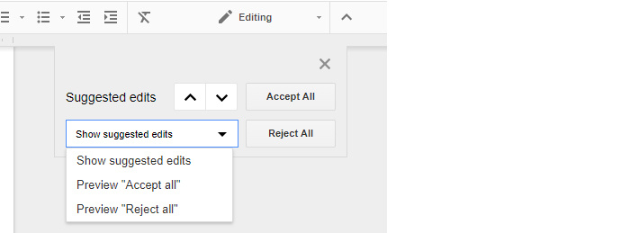 Google Drive collaboration - show suggested edits