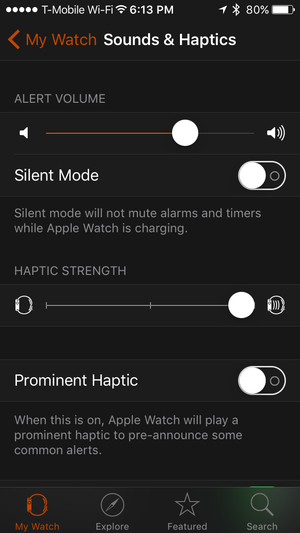 watch app alert volume