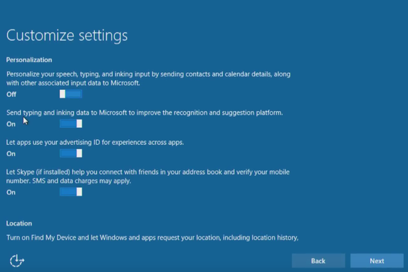 windows 10 install customize settings personalization location