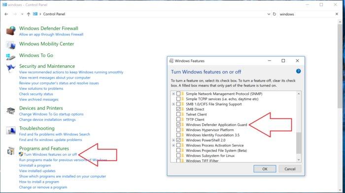 windows features redo Edge WDAG