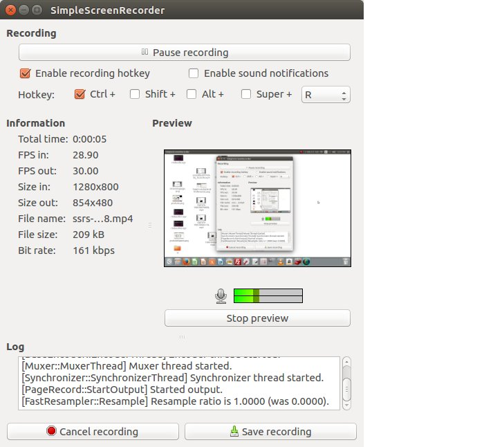 Linux screencasting apps - SimpleScreenRecorder making recording