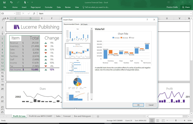 Excel 2016 - waterfall chart