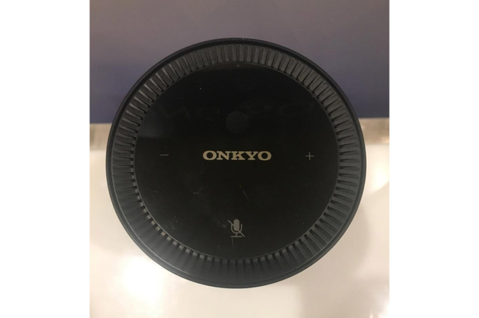 Top view of Onkyo's VC-FLX1 wireless speaker with Alexa.