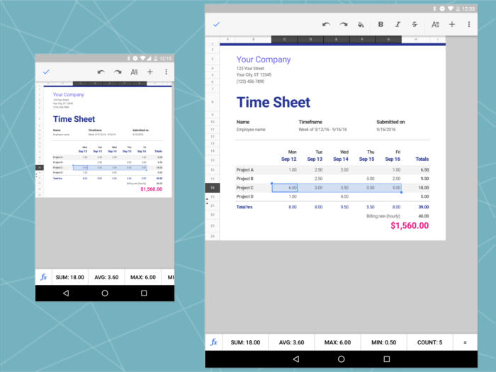 Android Office: Google Sheets