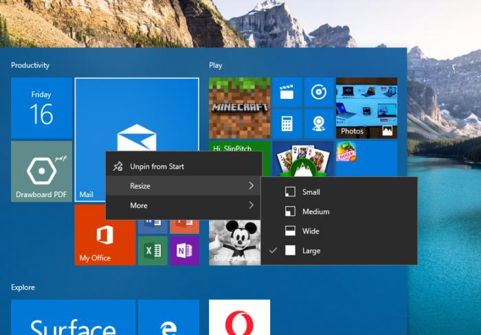 Windows 10 personalization start resize tiles
