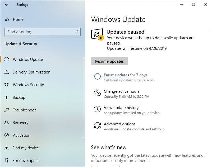 win10 v1903 review pause updates