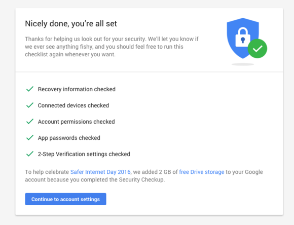 google account security check