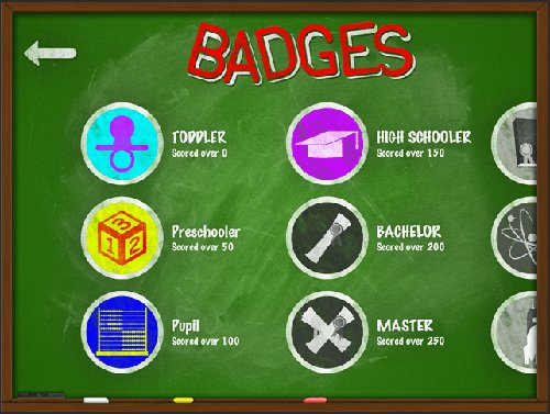 Blackboard Madness Maths app badges