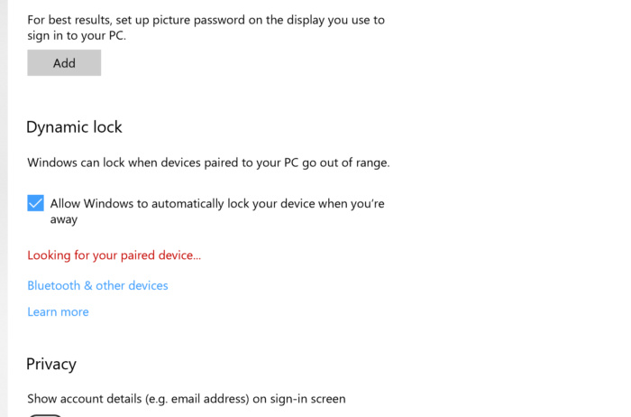 Windows 10 dynamic lock retry