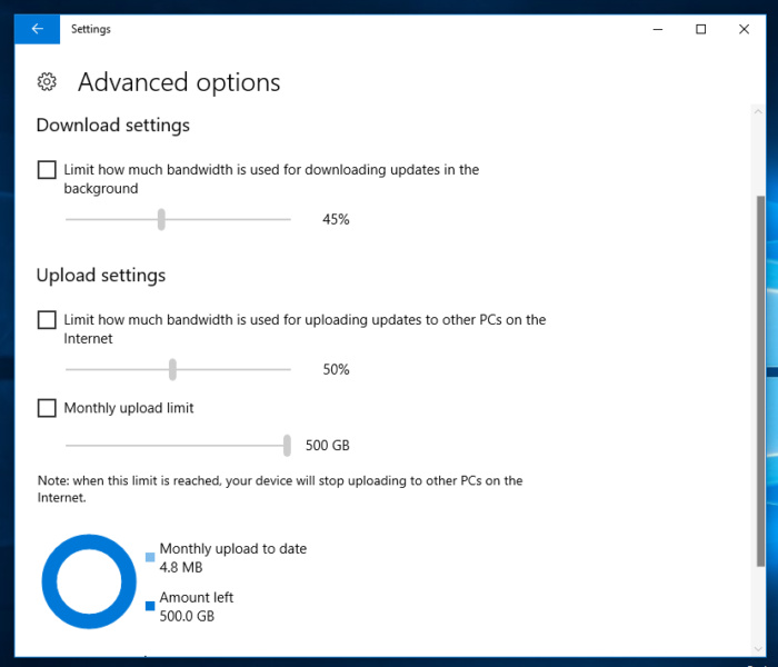 Windows 10 Fall Creators update bandwidth limit