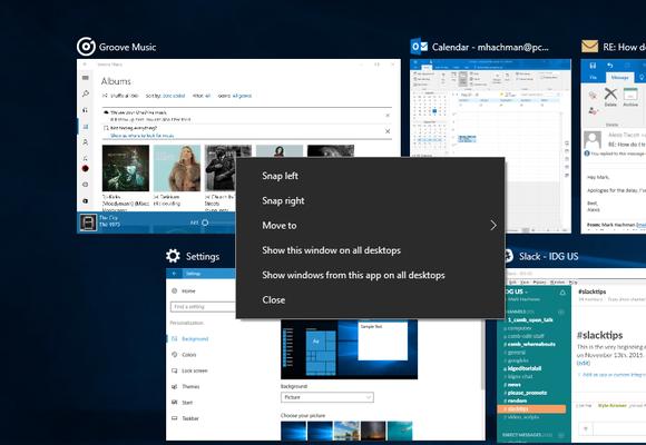 Windows 10 Anniversary Update task view app on all desktops