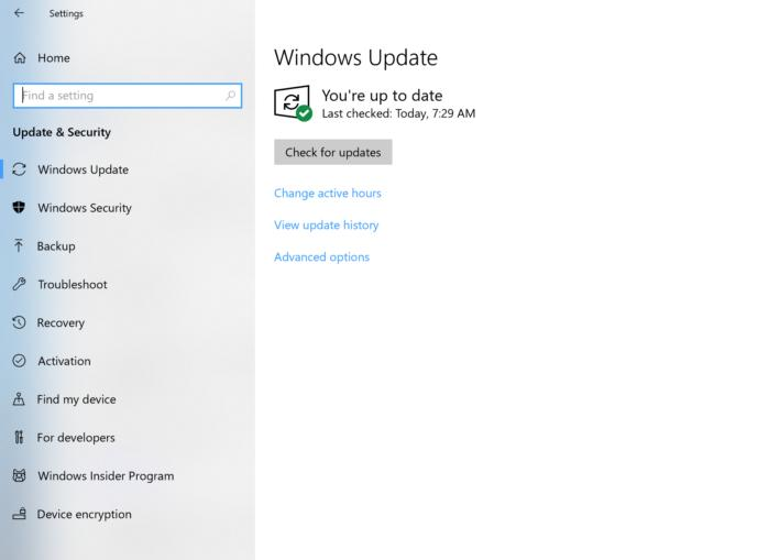 Microsoft Windows 10 windows update main
