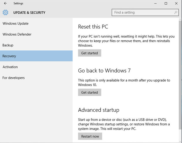 Reset Windows 10 back to earlier version