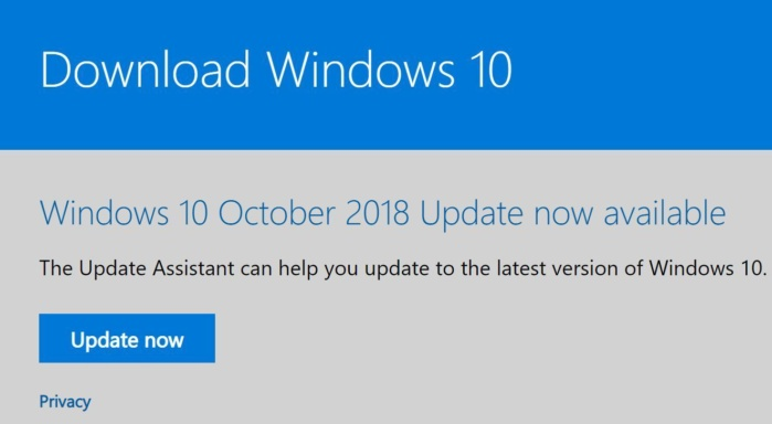 windows update download page