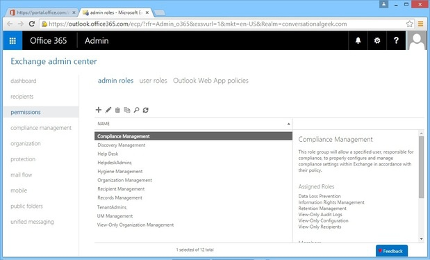 Office 365 Role Based Access Control