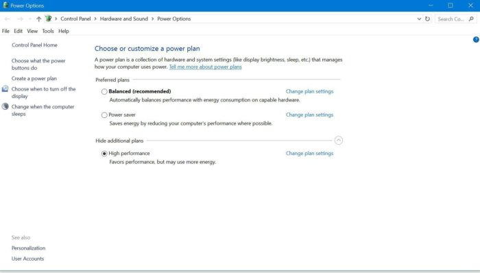 windows 10 power plans