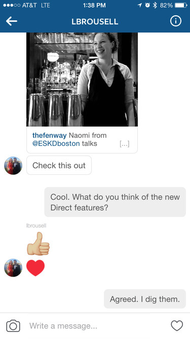 instagram direct threaded message
