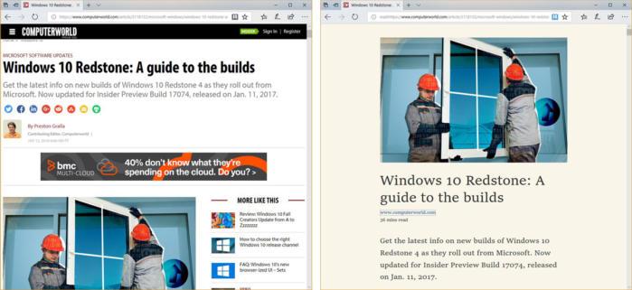 Windows 10 Edge reading view