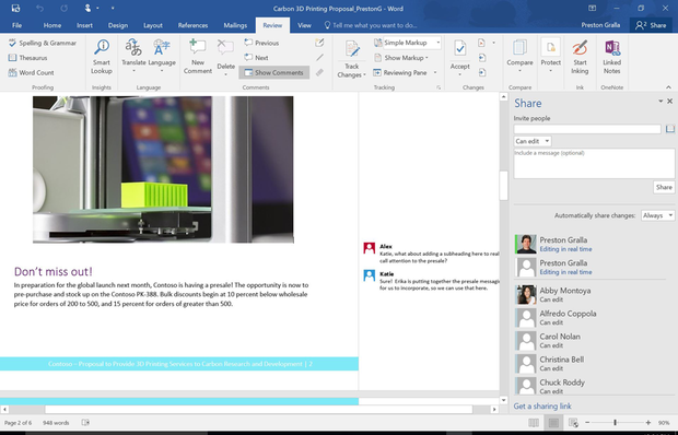 Office 2016 - Share pane