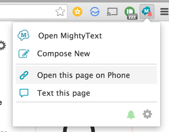 mightytext open on phone