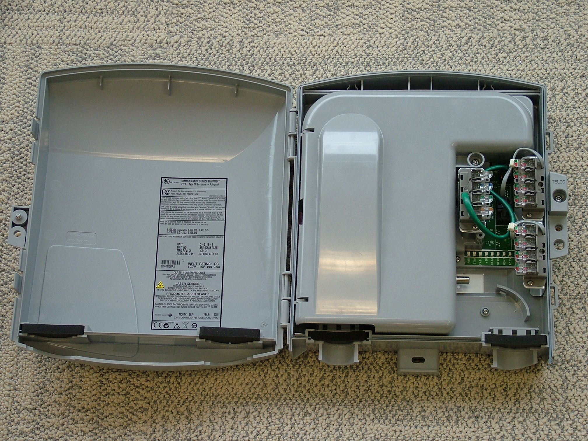 An opened external Optical Network Terminal (ONT)