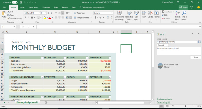 Excel 2016 collaboration - sharing a spreadsheet