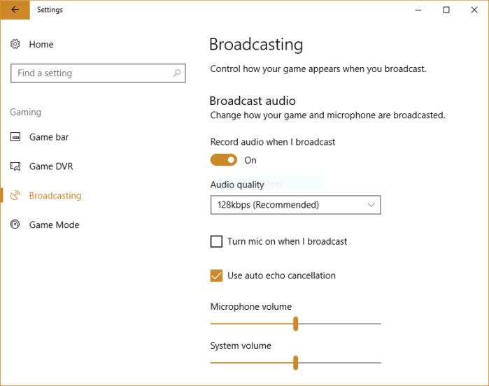 Windows 10 Creators Update - game settings
