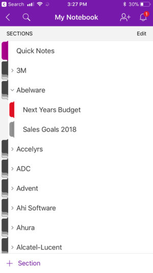 Microsoft OneNote iPhone app