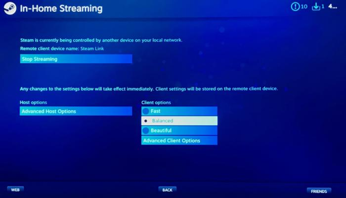 steam link in home streaming options