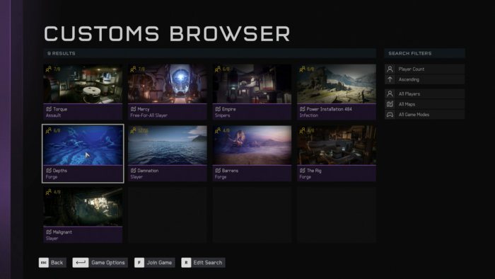 Halo 5: Forge custom game browser