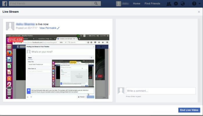 Linux screencasting apps - ScreenStudio streaming facebook