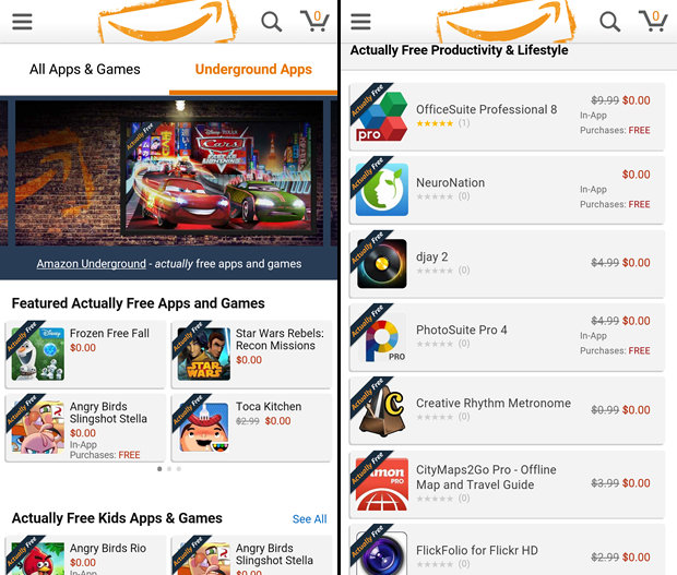 Amazon Underground app where $10k are actually free