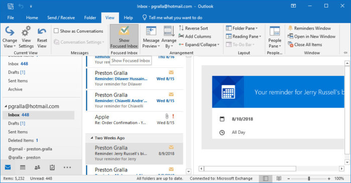 outlook365 focused inbox