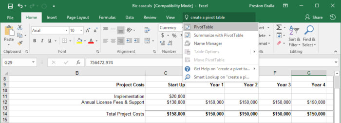 Excel 2016 Tell Me