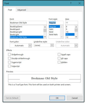 03 format font menus are used to define typeface size attributes