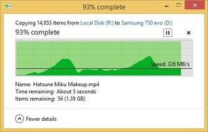 samsung 750 evo 20gb folder write