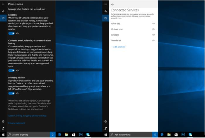 cortana permissions flyout