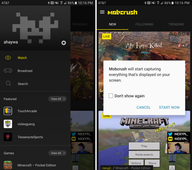 android streaming mobcrush setup