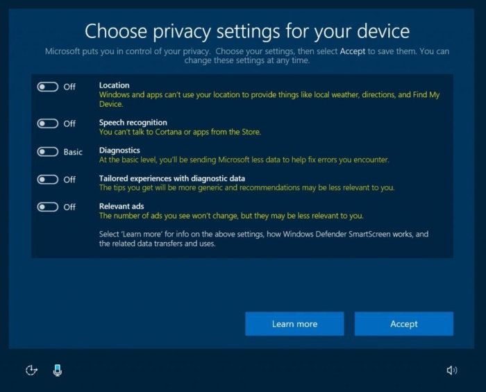 windows 10 upcoming privacy settings off