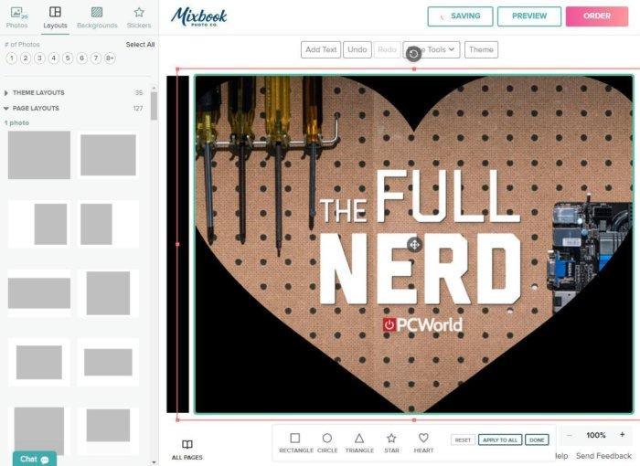 mixbook editor shapes