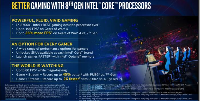 Intel Coffee Lake 8th gen  gaming benchmarks