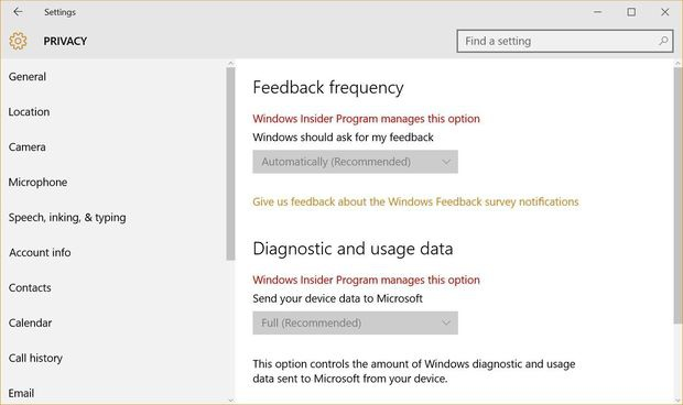 Win 10 feedback app settings