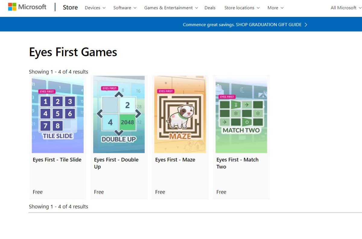 microsoft windows eyes first games