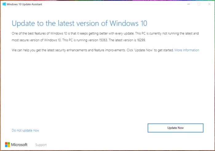 windows 10 fcu fall creators update upgrade screenshot