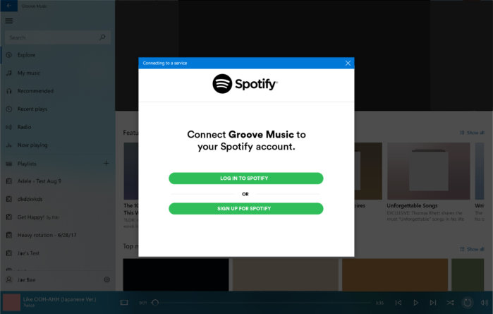 connect groove to spotify