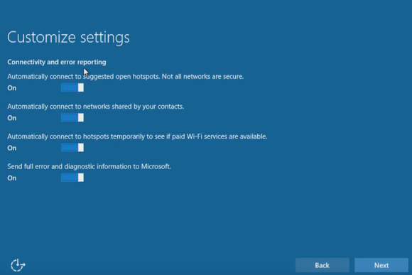 windows 10 install customize settings connectivity error reporting
