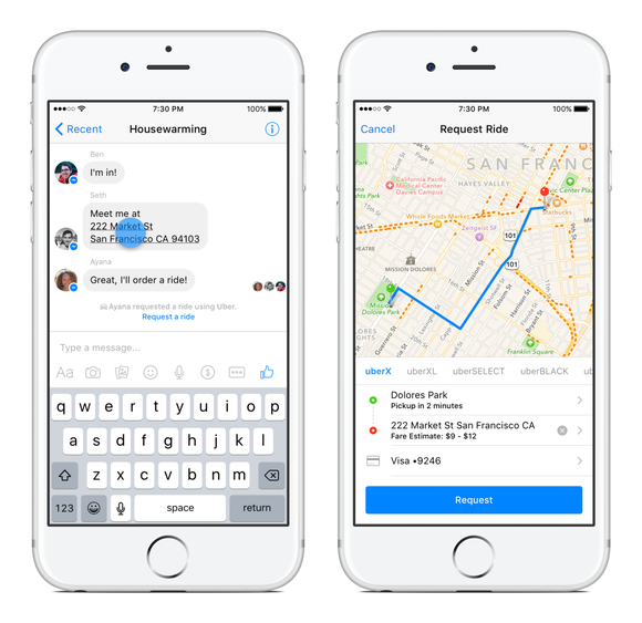facebook messenger uber ios
