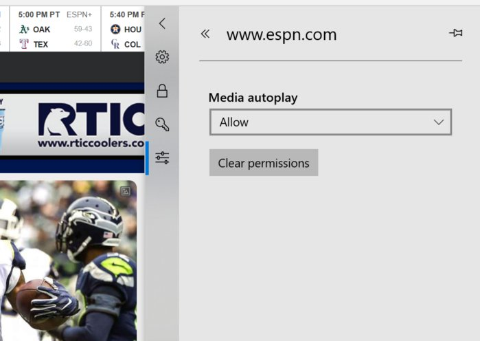 Microsoft Edge per site permissions five
