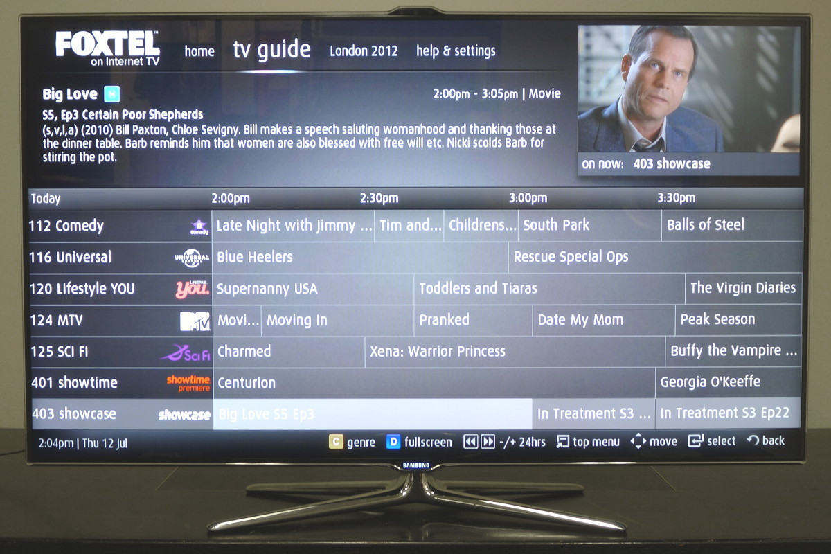 Samsung Foxtel on Internet TV TV Guide